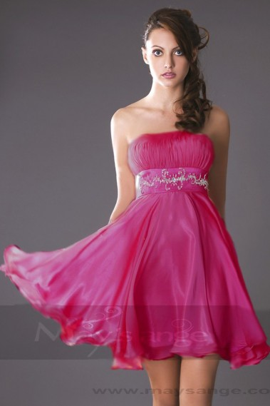 Short cocktail dress - Pink Fuchsia Short Homecoming Dress - C179 #1
