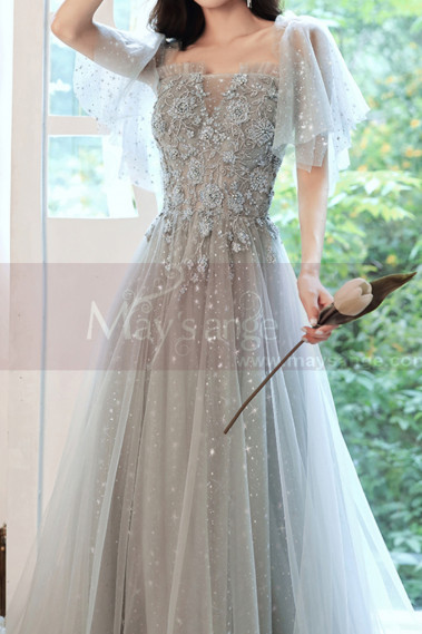Embroidered Top Blue Gray Wedding Guest Dresses With Sleeves - L2040 #1