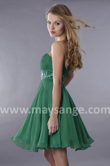 Green cocktail dress - Short Green Strapless Wedding-Guest Dress With Rhinestone Belt - C114 #1
