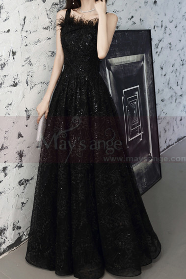 Fashion Black Ball Gown Prom Dress Long With Frilly Neckline - L2037 #1
