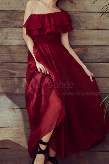 Trendy Ruffle Strapless Fluid Boho Maxi Dress For Cocktail - L2052 #1