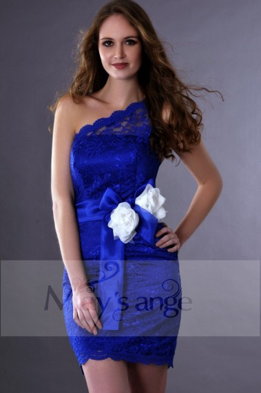 Blue cocktail dress - Royal Blue Lace Asymmetrical Graduation Party Dress - C175 #1