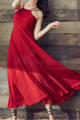 Red Chiffon Holiday Dresses Thin Straps And Fluttering Skirt - Ref L2053 - 02