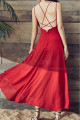 Red Chiffon Holiday Dresses Thin Straps And Fluttering Skirt - Ref L2053 - 04