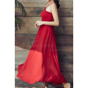 Red Chiffon Holiday Dresses Thin Straps And Fluttering Skirt - Ref L2053 - 05