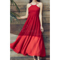 Red Chiffon Holiday Dresses Thin Straps And Fluttering Skirt - Ref L2053 - 06