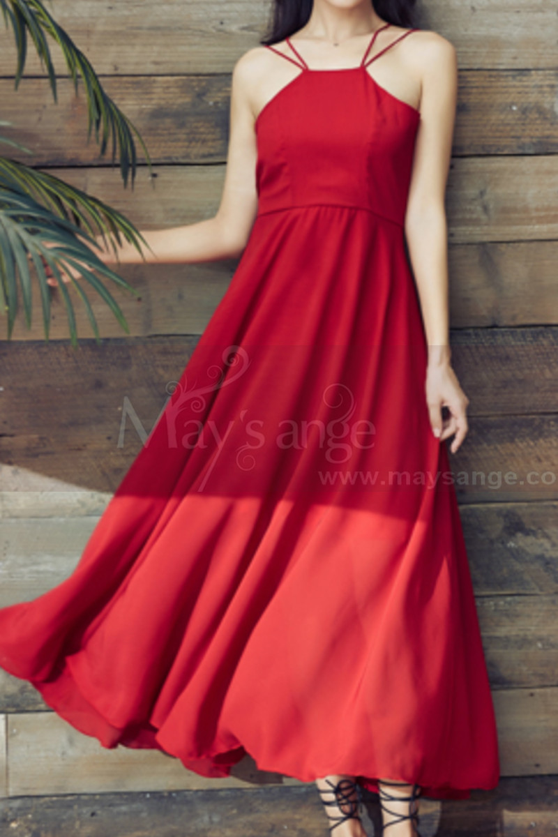 Red Chiffon Holiday Dresses Thin Straps And Fluttering Skirt - Ref L2053 - 01