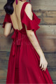 Long Chiffon Red Sexy Cocktail Dress Strap And Ruffle Sleeve - Ref C2022 - 03