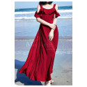 Long Chiffon Red Sexy Cocktail Dress Strap And Ruffle Sleeve - Ref C2022 - 04