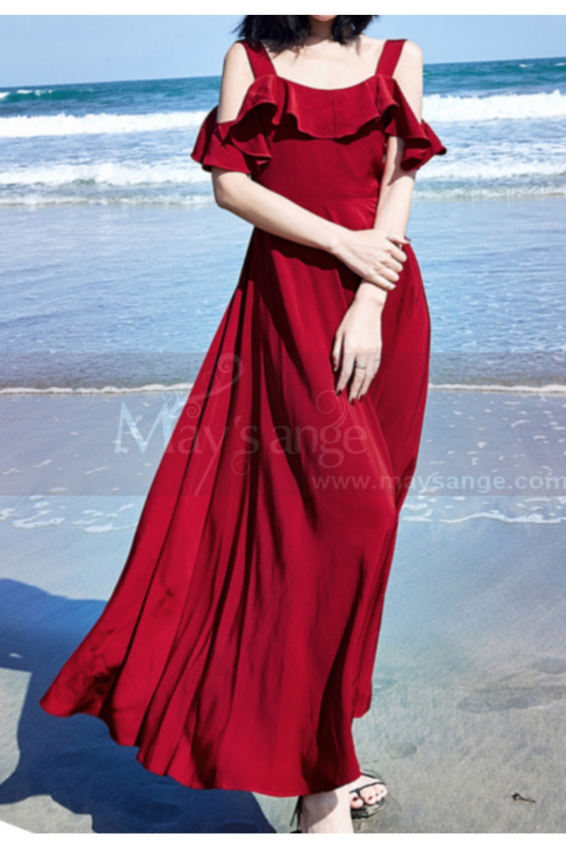 Long Chiffon Red Sexy Cocktail Dress Strap And Ruffle Sleeve - Ref C2022 - 01