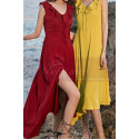 Red Summer Party Dress Asymmetric Skirt And Beautiful V Neck - Ref C2023 - 02