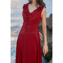 Red Summer Party Dress Asymmetric Skirt And Beautiful V Neck - Ref C2023 - 03