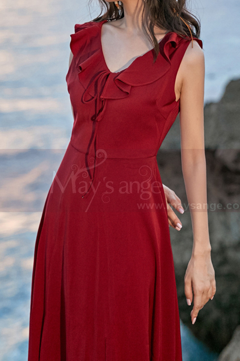 Red Summer Party Dress Asymmetric Skirt And Beautiful V Neck - Ref C2023 - 01