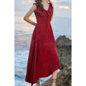 Red Summer Party Dress Asymmetric Skirt And Beautiful V Neck - Ref C2023 - 05
