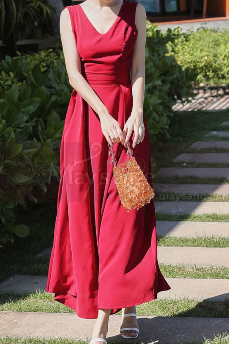 Long Red Chiffon Casual Beach Dress Wiht Cute Bow Backless - Ref C2024 - 01