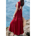 Beautiful Red Casual Attire For Women With Sexy Cutout Back - Ref C2021 - 03