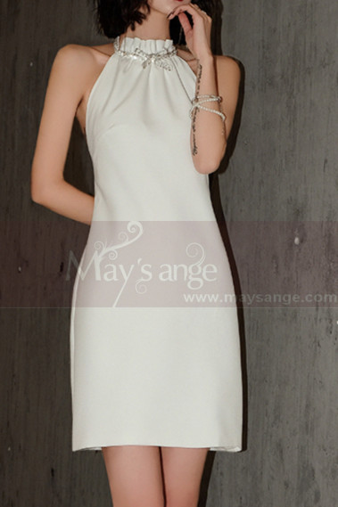 Simple Halter Short Strapless Dresses For Weddings Off White - M1300 #1