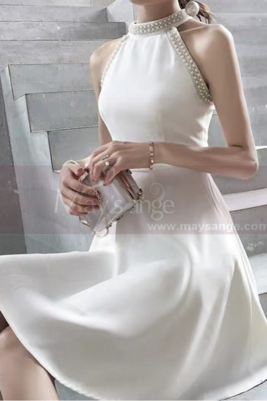 Short Chiffon Luxury Wedding Dresses With Pearl Halter Neck - M1299 #1