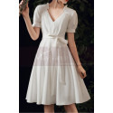 Cute Modest Wedding Gowns Short Flared Skirt With Bow Belt - Ref M1293 - 02