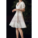 Cute Modest Wedding Gowns Short Flared Skirt With Bow Belt - Ref M1293 - 03