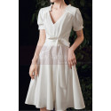 Cute Modest Wedding Gowns Short Flared Skirt With Bow Belt - Ref M1293 - 06
