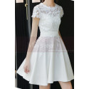 Lace Top Fitted Waist Short White Wedding Dress With Sleeve - Ref M1295 - 02