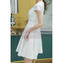 Lace Top Fitted Waist Short White Wedding Dress With Sleeve - Ref M1295 - 03