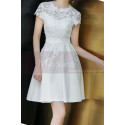 Lace Top Fitted Waist Short White Wedding Dress With Sleeve - Ref M1295 - 04