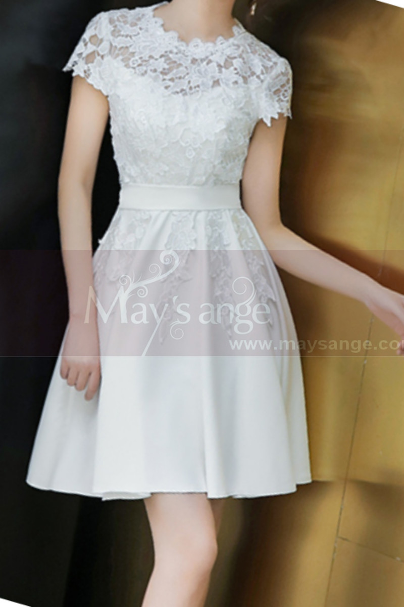 Lace Top Fitted Waist Short White Wedding Dress With Sleeve - Ref M1295 - 01