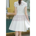 Lace Top Fitted Waist Short White Wedding Dress With Sleeve - Ref M1295 - 05