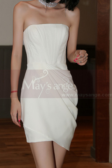 Robe Bustier Blanche Courte Mariage Jupe Style Portefeuille - M1289 #1