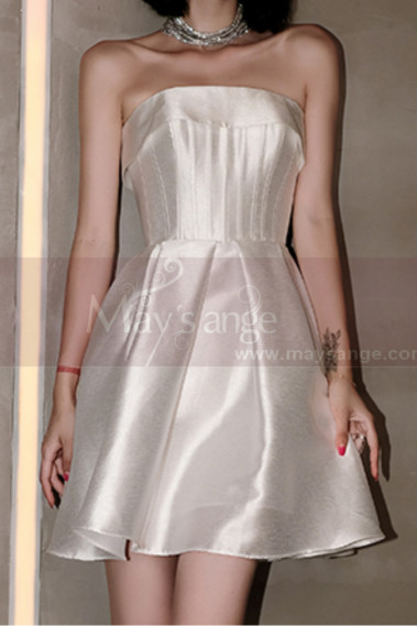 Beautiful Short Strapless Cheap Bridal Dress In White Satin - M1297 #1