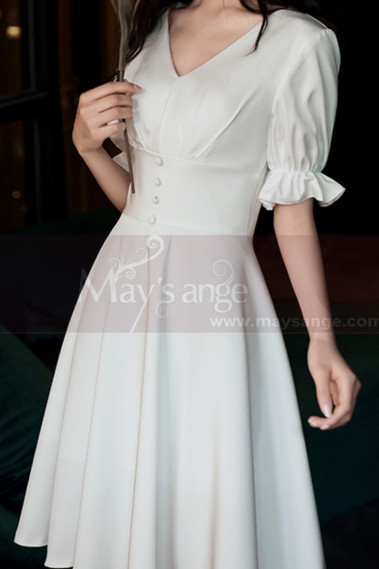 V Neck Short White Bohemian Wedding Dress With Elastic Sleeve - M1298 #1