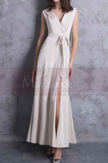 Off White Long Slit Dresses For Civil Wedding With Tie Belt - M1306 #1