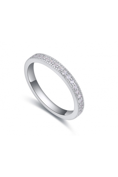 Best simple platinum rings for women Silver with rhinestone - 22280 #1