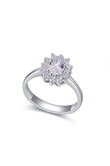 Sterling silver simple engagement solitaire rings for women - 22287 #1