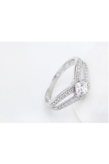 Cushion cut and square sparkling stone ladhy engagement ring - 22299 #1
