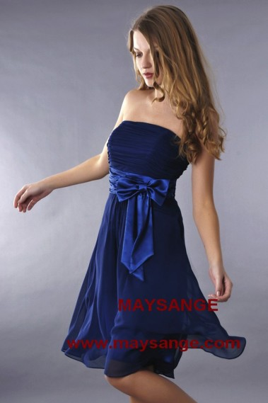 Fluid cocktail dress - Navy Blue Short Strapless Homecoming Party Dress - C186 #1