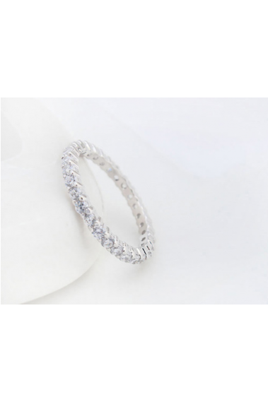 Silver thin pretty rings for women with rhinestones - 22453 #1