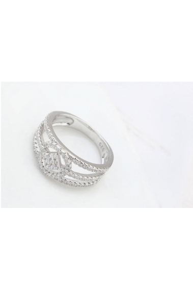 Wide rings for women silver with sparkling rhinestone - 22456 #1