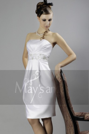 White Cocktail Dress With Beaded Belt - C001 #1