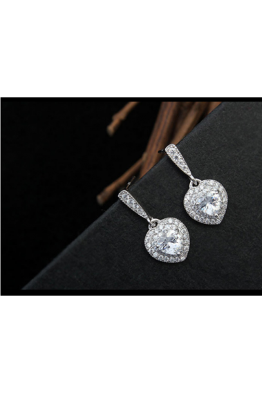 Stylish Silver heart stud earrings sparkling white crystal - 22540 #1