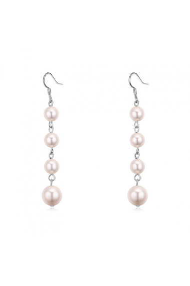 Pretty silver pink pearl earrings imitation with hook clasp - 23887 #1
