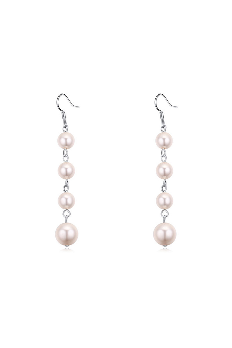 Pretty silver pink pearl earrings imitation with hook clasp - Ref 23887 - 01