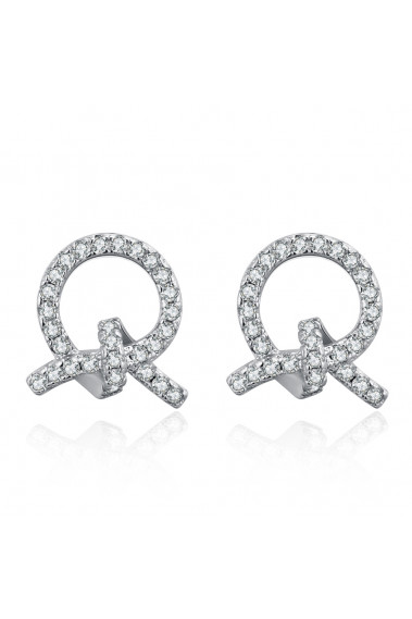 Wedding earrings silver women with sparkling white crystal - 28685 #1