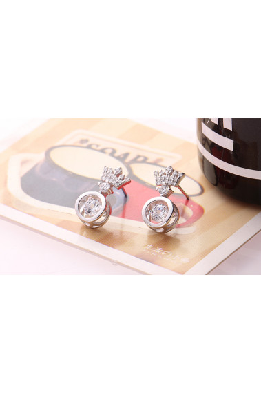 Pretty affordable royal crown simple earring design silver - 28954 #1