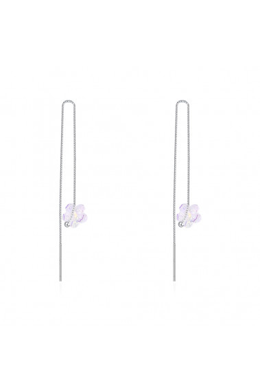 Chain earrings silver venetian mesh with white crystal stone - 30500 #1