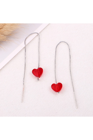 Cheap silver sterling stylish red statement earrings heart - 30504 #1