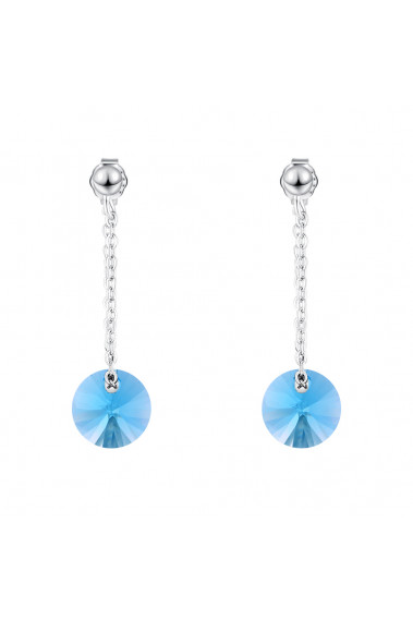 925 silver pendant earrings with crystal blue disc for women - 30573 #1