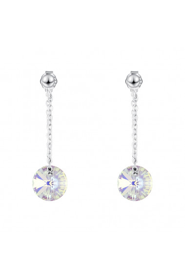 Stylish white cristal disc wedding earrings silver sterling - 30574 #1